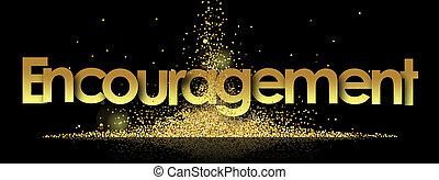 Encouragement in golden stars background