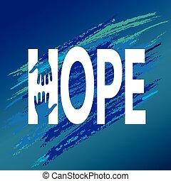 encouragement., steun, hand, vector, moraal, hoop
