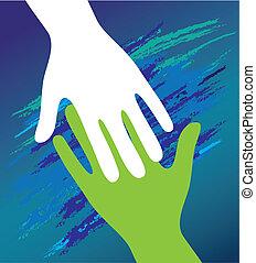 encouragement., steun, vader, hand, kind, moral.