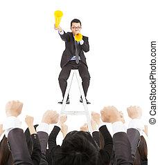 encourager, acclamation, équipe, homme affaires, porte voix, excité