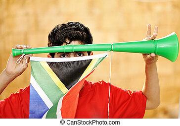 encourager, vuvuzela, σημαία