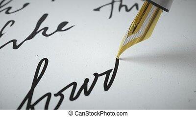 encre, écrit, grand plan, stylo, papier, vers