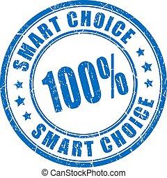 encre, bleu, timbre, intelligent, choix