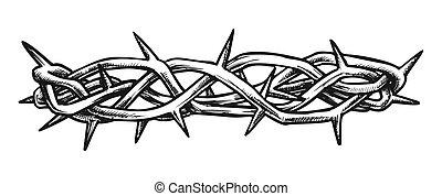 encre, vue, christ, côté, épines, couronne, jésus, vecteur