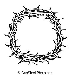 encre, vue dessus, christ, couronne, épines, jésus, vecteur
