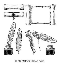 encrier, gravure, tenant main, oie, feather., vecteur, femme, rouleau