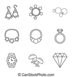Encrusted icons set. Outline set of 9 encrusted icons for web isolated on white background