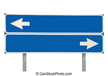 encruzilhadas, sinal estrada, dois, seta, azul, isolado