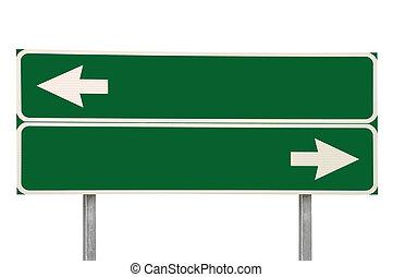 encruzilhadas, sinal estrada, dois, seta, verde, isolado