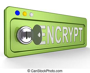 Encrypt Key Showing Protection Encryption 3d Illustration