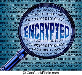 encrypted, dane, widać, dane, szyfrowany, 3d, przedstawienie