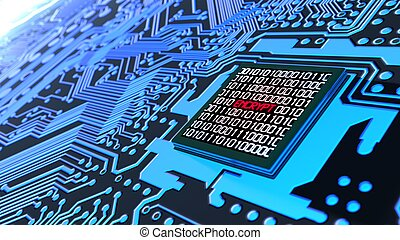 Encrypted data cybersecurity concept circuit board in blue