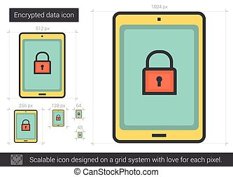 Encrypted data line icon. - Encrypted data vector line icon...