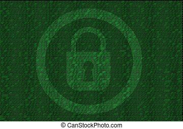 encrypted, digitale , slot, met, groene, binaire code