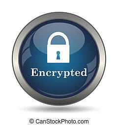 Encrypted icon. Internet button on white background.