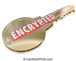 The word Encrypted on a gold key to illustrate computer network cyber crime prevention and security encoding algorithms using information technology techniques to guard against hacking