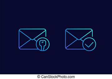 encrypted message or email, linear icons