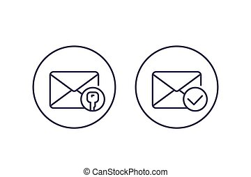encrypted message or email, vector line icons