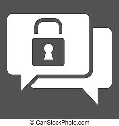 Encrypted Messaging solid icon, security and padlock, chat...