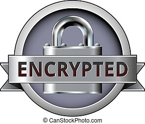 Encrypted secure badge - Encrypted vector button on...