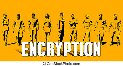 Encryption Concept With Business Professionals Standing in a...