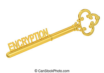 encryption concept with golden key, 3D rendering