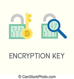 Encryption key, cryptocurrency icon, flat design
