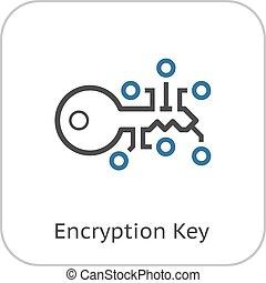 Encryption Key Icon. Modern computer network technology...