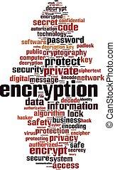 Encryption word cloud concept. Vector illustration