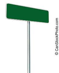 encuadrado, espacio, aislado, blanco, signboard, señal, grande, verde, perspectiva, zona lateral de camino, blanco, copia, marco, camino