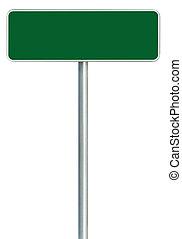 encuadrado, espacio, aislado, blanco, signboard, señal, grande, verde, zona lateral de camino, blanco, copia, marco, camino