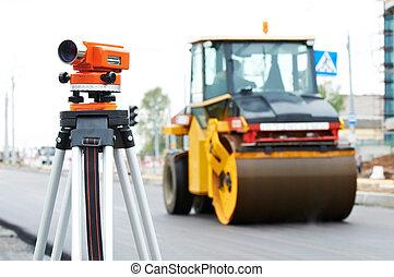 encuesta, equipo, en, asphalting, trabaja