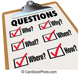 encuesta, portapapeles, investigación, preguntas, quién, qué, dónde, cuándo, por qué, cómo