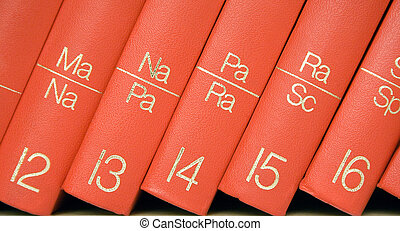 Encyclopedia (Close) - Close view on red books standing in a...