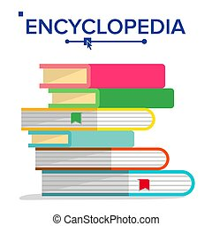 Encyclopedia Pile Vector. Books Stack With Bookmarks. Science, Learning Concept. Dictionary, Literature Textbook Icon. Flat Isolated Illustration