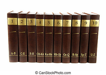 Encyclopedia set - 10 heavy book tomes isolated
