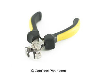End cutting pliers isolated