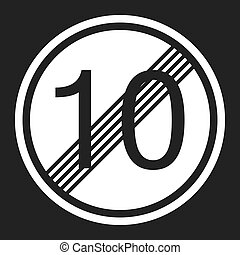 End maximum speed limit 10 sign flat icon