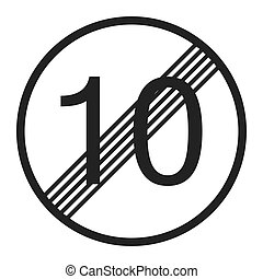 End maximum speed limit 10 sign line icon