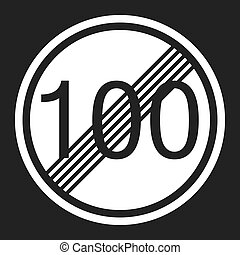 End maximum speed limit 100 sign flat icon