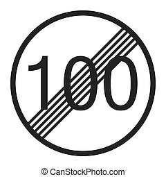 End maximum speed limit 100 sign line icon