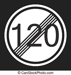 End maximum speed limit 120 sign flat icon