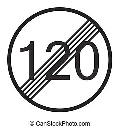 End maximum speed limit 120 sign line icon