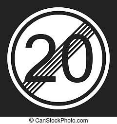 End maximum speed limit 20 sign flat icon