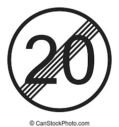 End maximum speed limit 20 sign line icon