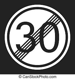 End maximum speed limit 30 sign flat icon
