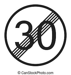 End maximum speed limit 30 sign line icon