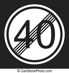 End maximum speed limit 40 sign flat icon