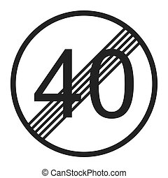 End maximum speed limit 40 sign line icon