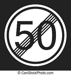 End maximum speed limit 50 sign flat icon